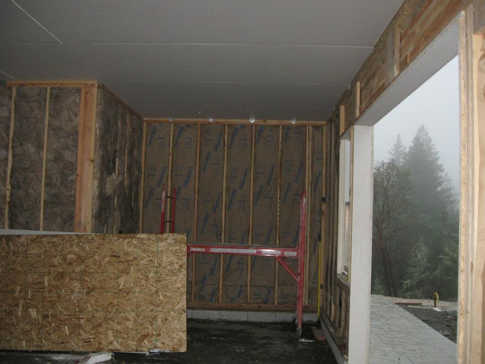 Garage ceiling drywalled at Paradise Vista lot 16