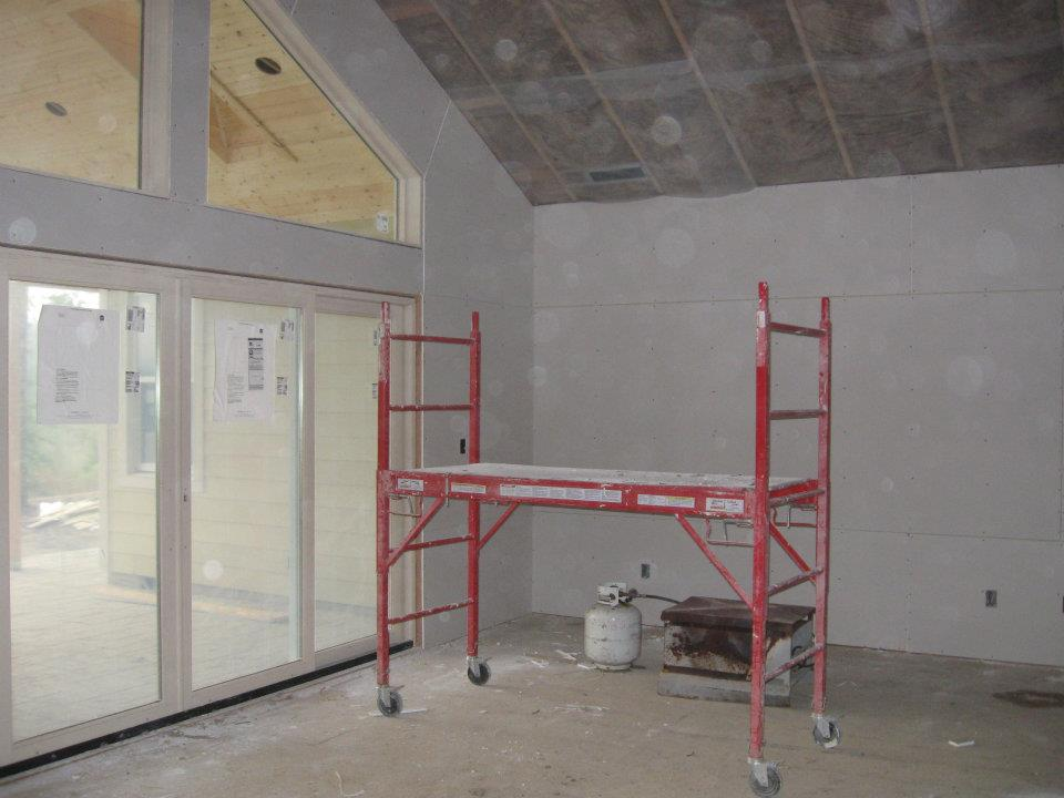 drywall in GR patio door at paradise Vista lot 16