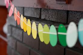 easter egg garland made with paint swatch cards