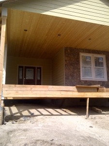 Paradise Vista Lot 16-exterior front porch prep for decking installation