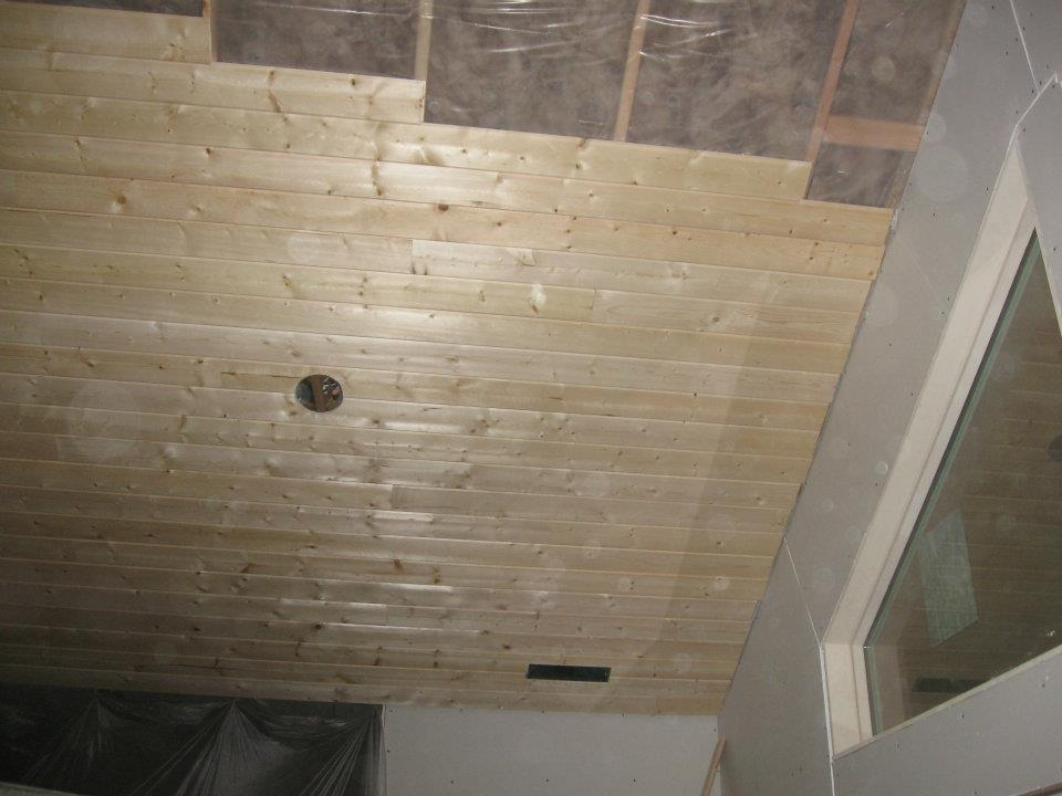 Tongue Amp Groove Ceiling Installed In Custom Home Out At